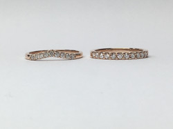 18ct Rose gold wedding rings.