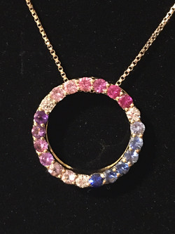 18ct yellow gold multi coloured circle of life