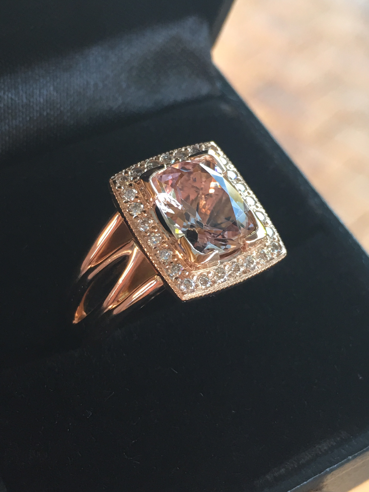 14ct Rose gold morganite and diamond ring