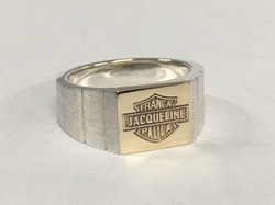 Custom CAD in silver and 9ct yellow gold gents ring