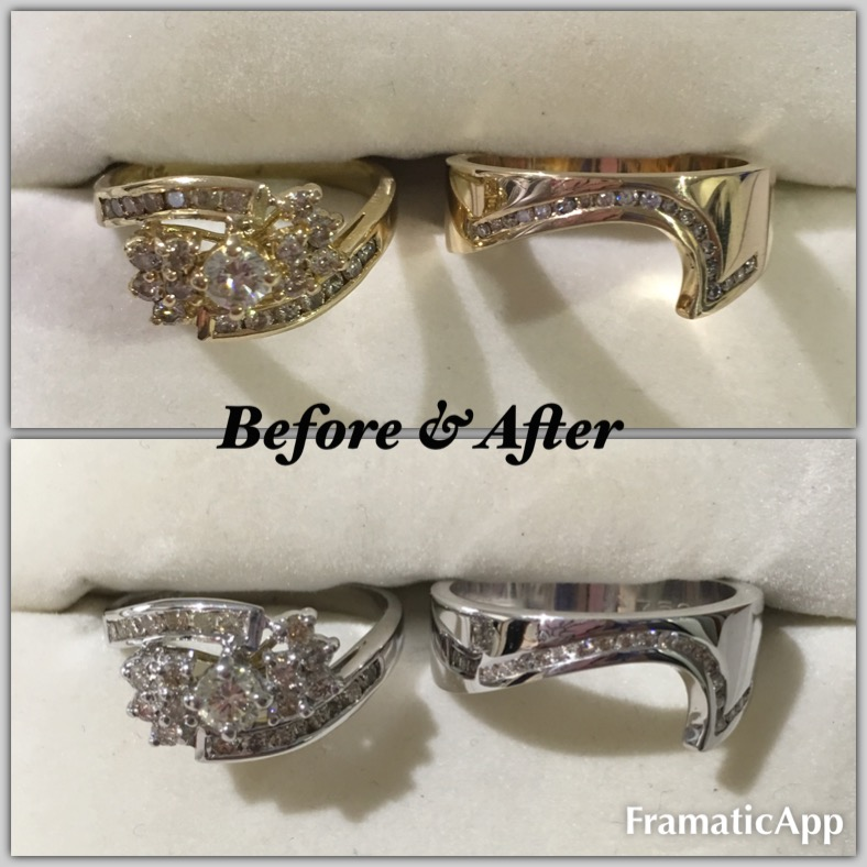 Rhodium plated yellow gold rings, before and after.