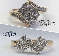 Before and after of 18ct yellow and white gold diamond ring