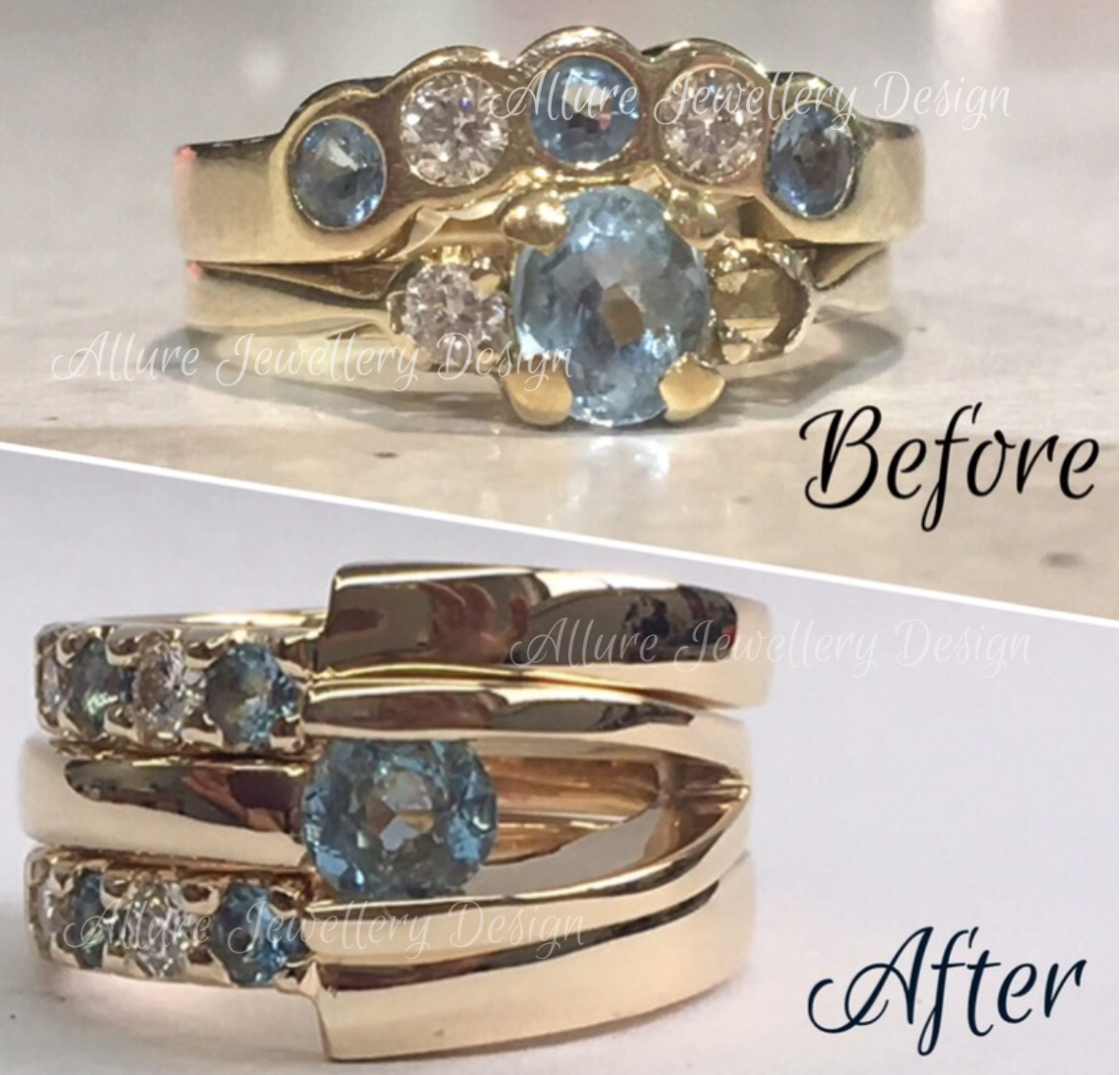 Remodel before and after, using customers gold and stones.