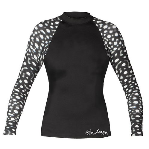 Whale Shark Rash Guard - Woman Black
