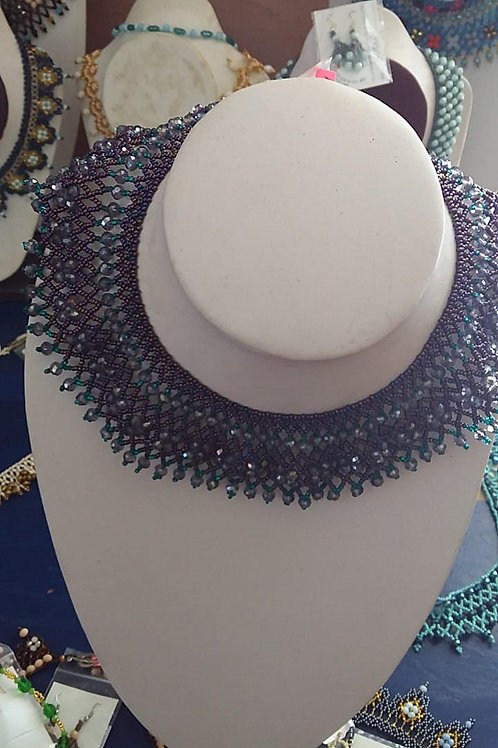 Ruth Bader Ginsberg Necklace blue accents Woman's Beading Co-op
