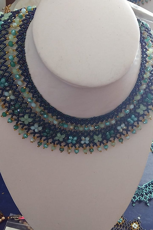 Ruth Bader Ginsberg Necklace green accents Woman's Beading Co-op