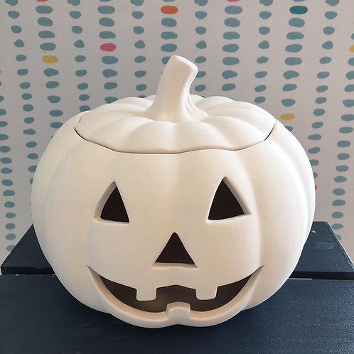 Large lidded pumpkin lantern