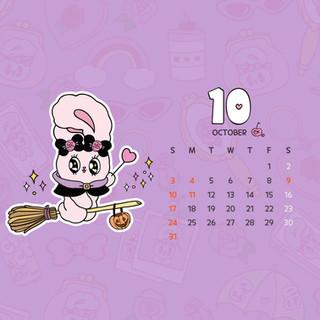 Estherbunny 10월 달력 월페이퍼_PC, 태블릿
