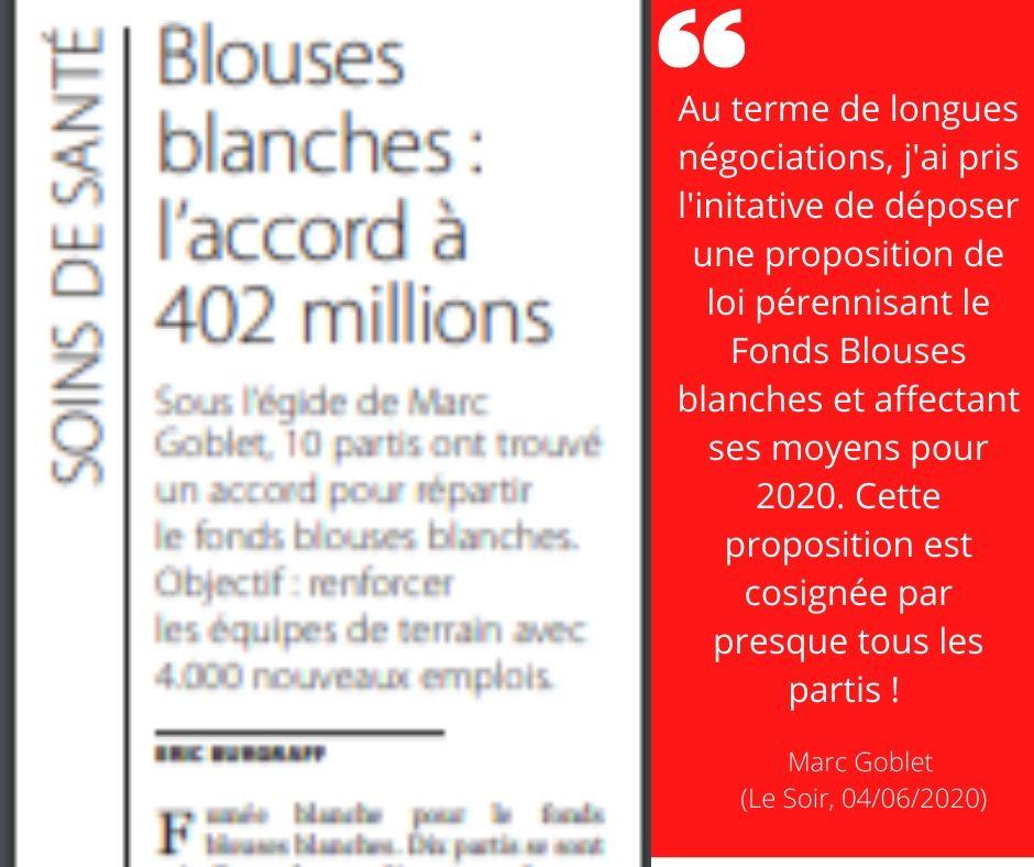 Fonds blouses blanches : 402 millions d'euros pour la 1ère ligne !