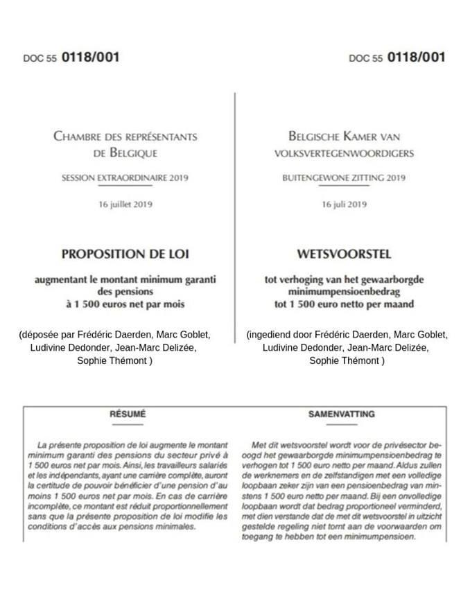 Proposition de loi pour une pension minimum de 1500 euros net/mois