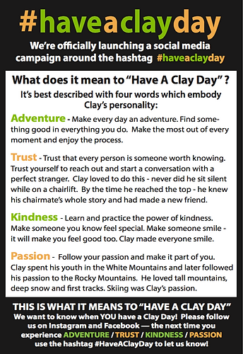 #haveaclayday, Clay Soper Memorial Fund Winchester, Ski Race Memorial Weekend Championship, Clay Connections Youth Enrichment Services, Documentary If They Had Known, Accidental Death College Student Winchester