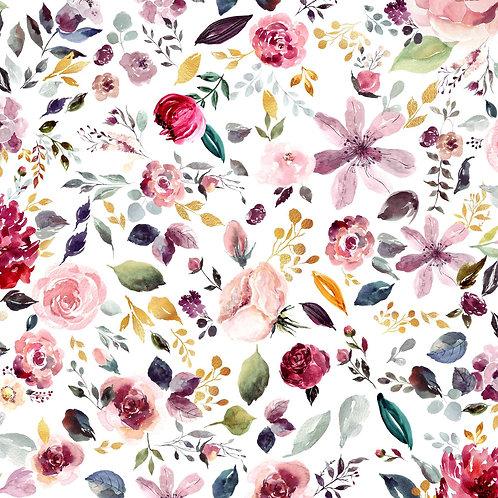 Últimos 108 cm - PAINTED FLOWERS WHITE - Punto camiseta