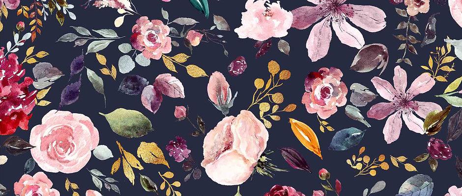 PAINTED FLOWERS DARK - Punto camiseta