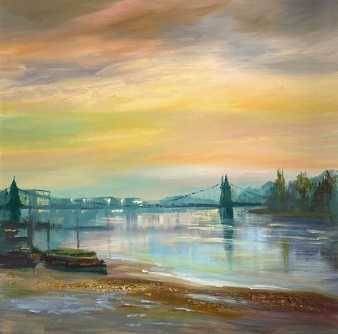 Early morning mist Hammersmith Bridge