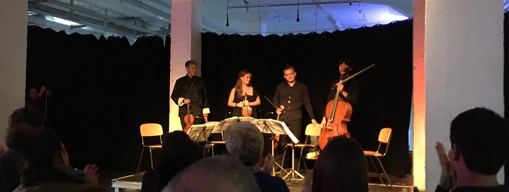 17:00 Uhr. Kunsthaus Rhenania. Chamber Remix Cologne. Kelemen Quartett. Jono Podmore, Roland Dill.