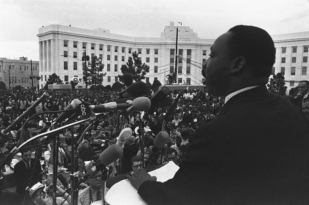 Martin Luther King, Jr., at Montgomery. AP Images.