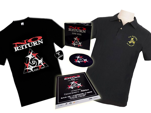 BUNDLE LIVE XXX E : DIGIPACK + SHIRT XL + POLO + PATCH + FLYER + PICK