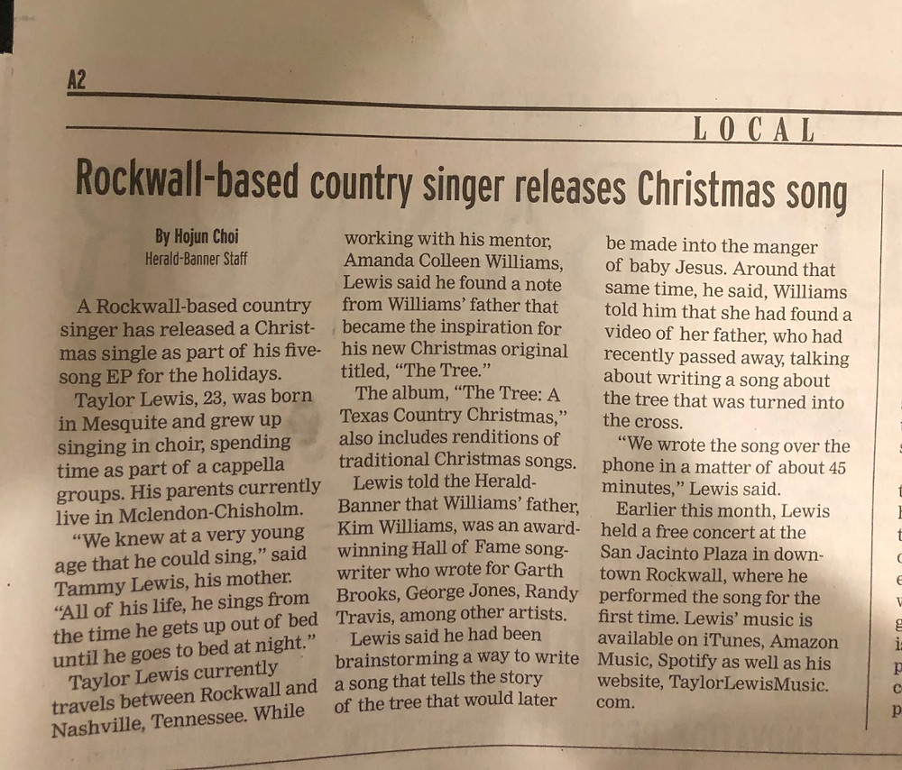 Rockwall based country singer Christmas Song Taylor Lewis