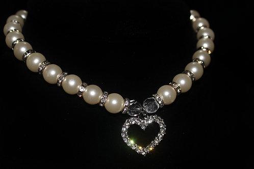 Diamond Studded Pearl Necklace