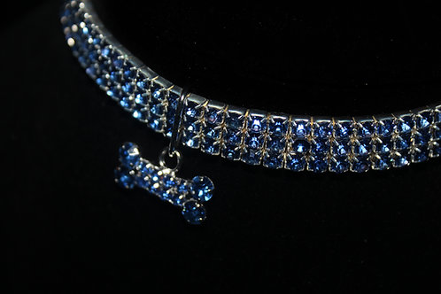 Blue Diamond Studded Necklace - Bone