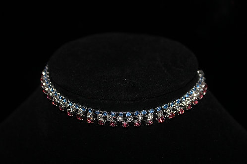 Diamond Studded Necklace - Red, White &Blue
