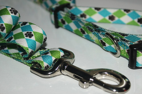 Casual Canine Nylon Pooch Pattern Collar & Leash Sets