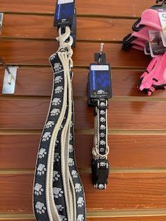 Black/Tan Paws Leash and Collar Set