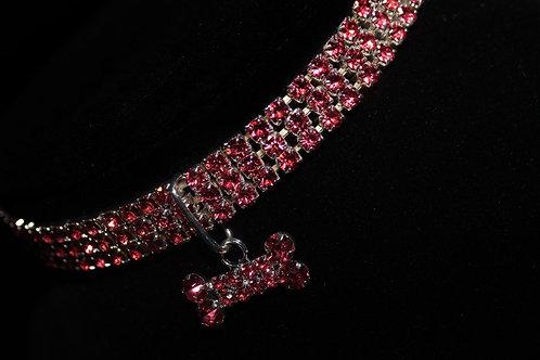 Pink Diamond Studded Necklace - Bone