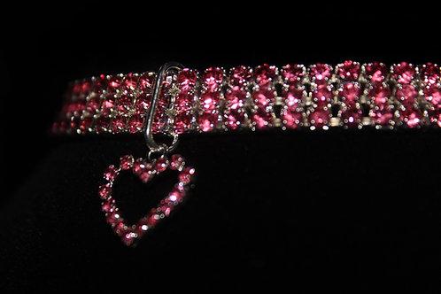 Pink Diamond Studded Necklace - Heart