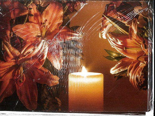 ESUK010 CANDLE & LILY XMAS CARD & ENVELOP PACK OF 10