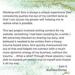 SLP Website Testimonials Julie Writing 2