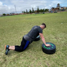Plate pushups dropset to knees