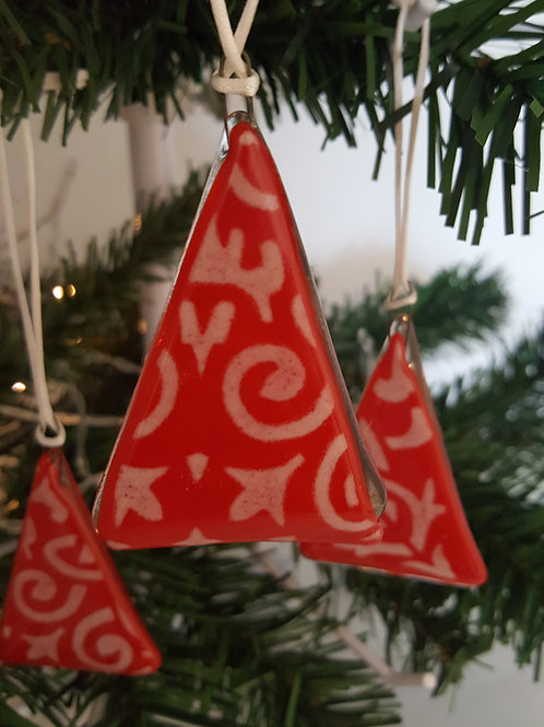 Red Gothic Christmas Tree Decoration/Gift Tag
