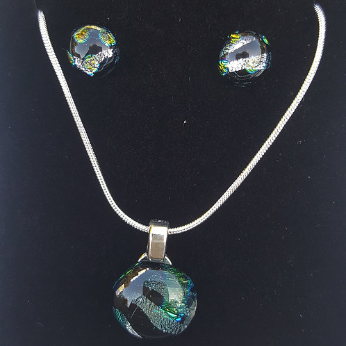 Stripe Dichroic Earring and Pendant set
