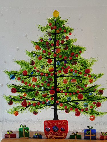 Christmas tree freestanding window panel