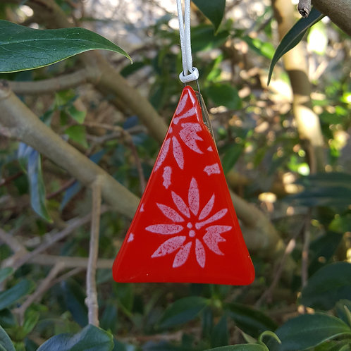 Red Christmas Flower Tree Decoration/Gift Tag