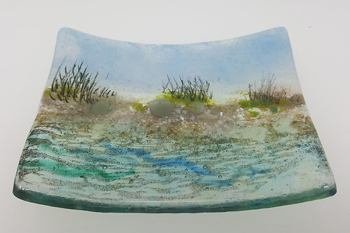 Sussex Beach Fused Glass Soap Dish