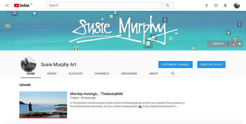 #susiemurphyart YouTube Channel