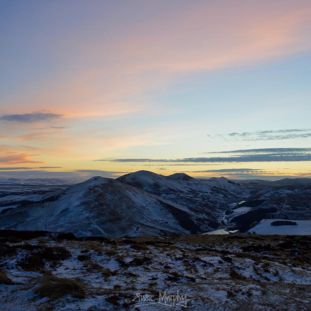 Winter sunset in the Pentlands