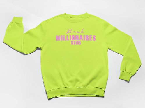 Black Millionaires Club Sweatshirt Safety Green