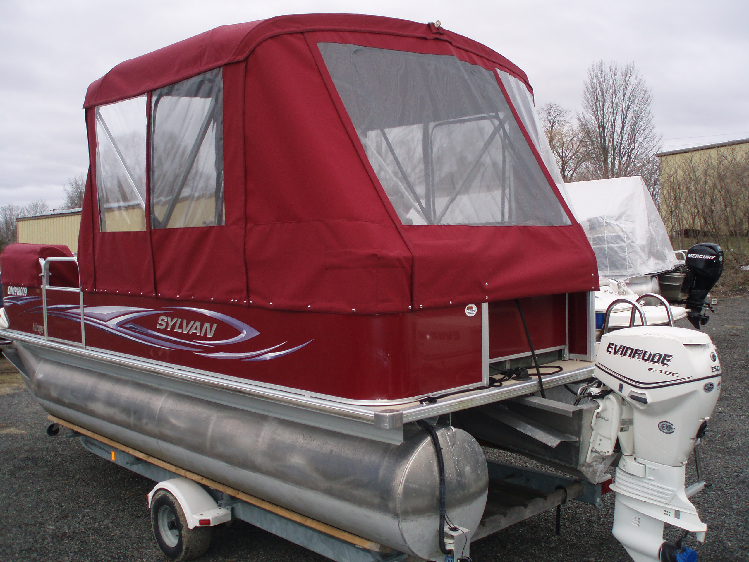 Pontoon boat cover - rear view