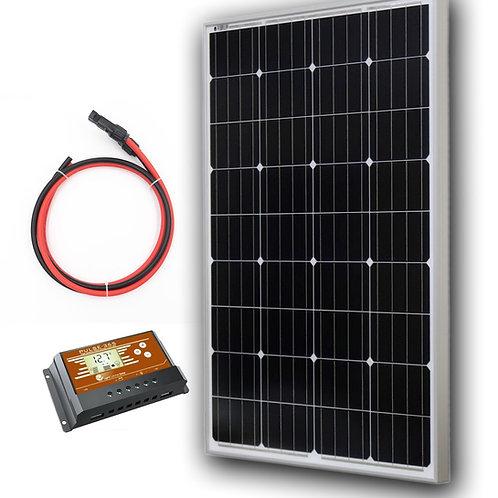 100 Watt Monocrystalline Solar Panel Kit (Panel+Controller+2' Wire)