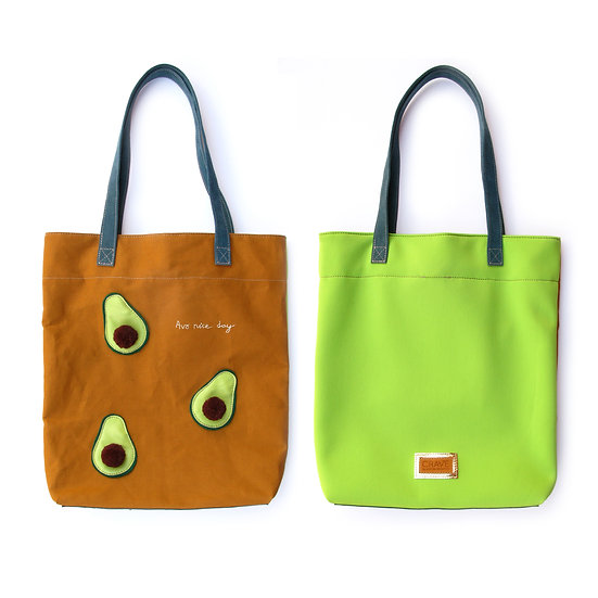 Avo Tote-o | Avocado Neoprene & Leather Tote Bag