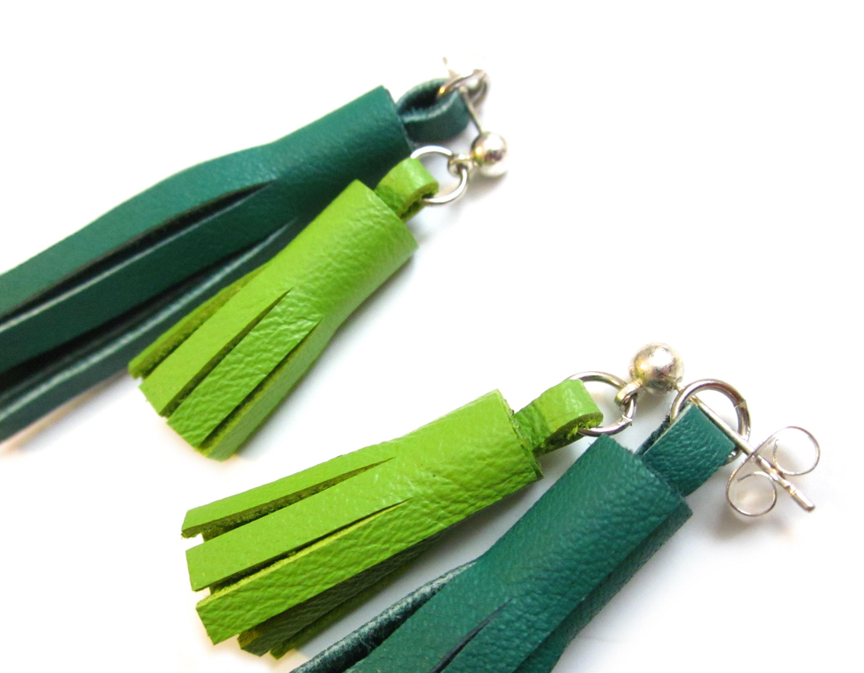 Leather Tassel Ear Jackets  Tassel Stud Earrings  Leather Tassel Earrings