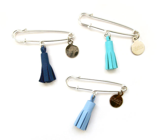 leather tassel safety pin
