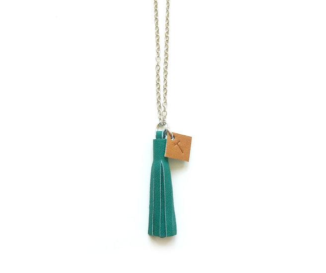 "Leather Tassel Monogram Necklace | 2"" Tassel Initial Necklace"