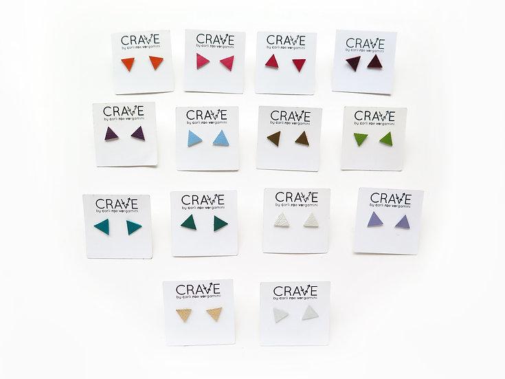 Leather Triangle Stud Earrings