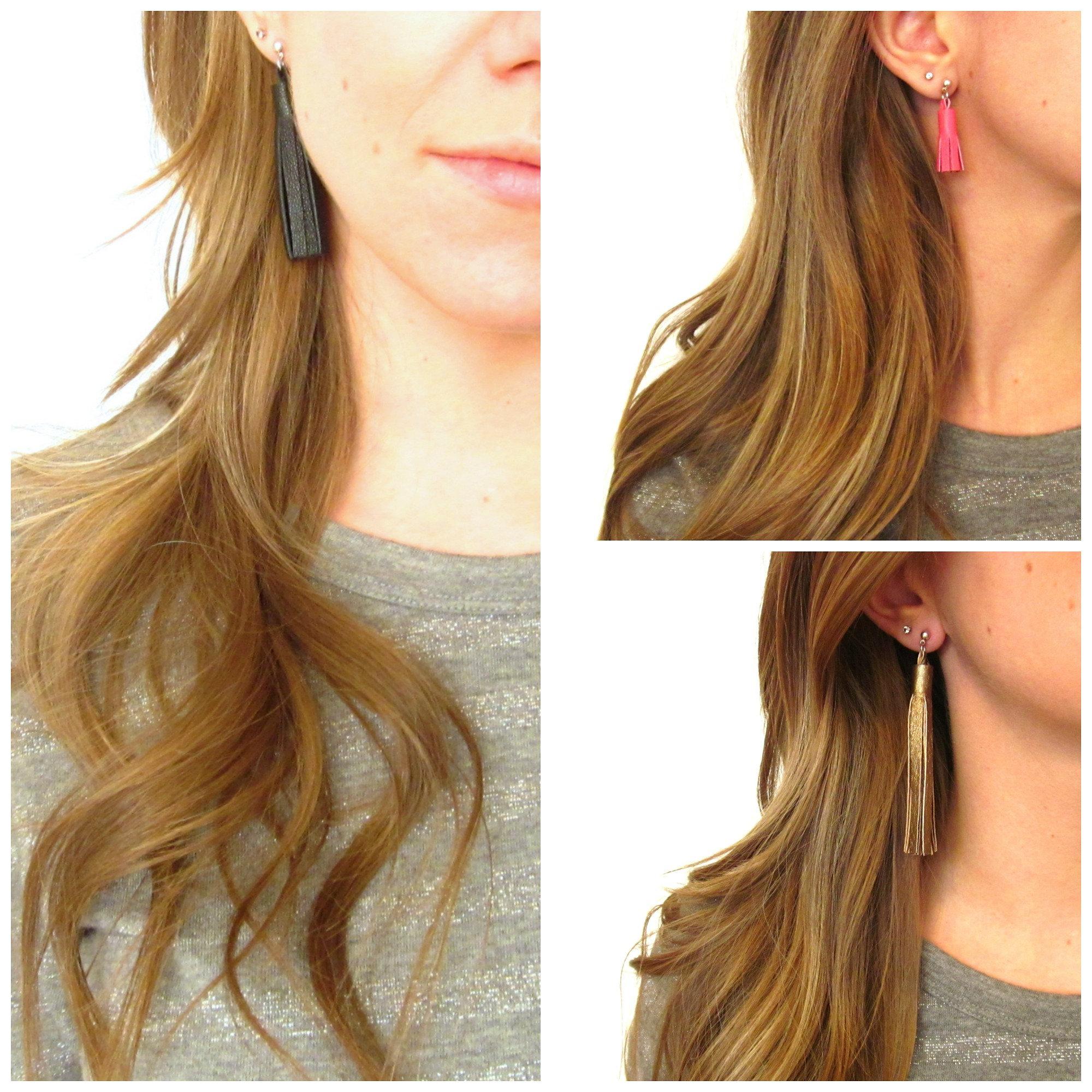Tassel Stud Earrings  Leather Tassel Earrings  Fringe Earrings