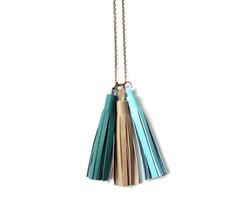 Custom leather tassel necklace
