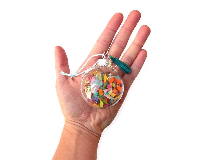 Leather Confetti Ornament With Tassel